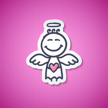 blessing: hand drawn angel with heart, illustration