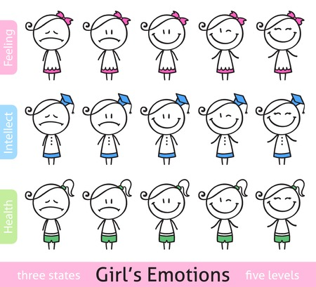 set of hand drawn girls in different emotional conditions photo
