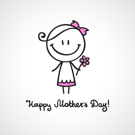 mothers day card with hand drawn girl photo