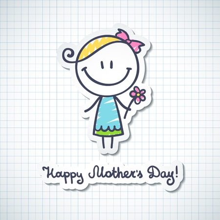pen and marker: mothers day card with hand drawn girl
