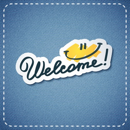 welcome smile: welcome, vector text and smile on denim texture