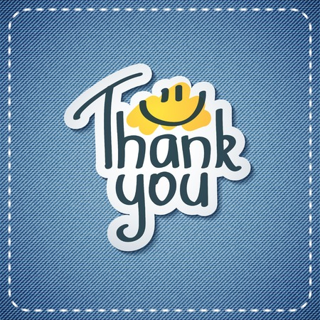 thank you, vector text on denim texture Vector