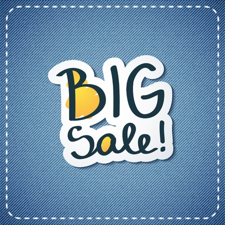 vector big sale text on denim texture Vector