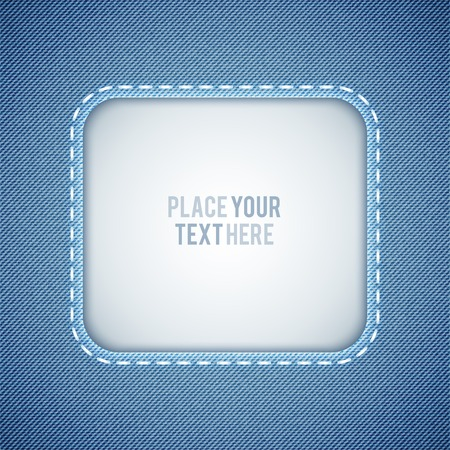 seam: vector denim background with frame and seam