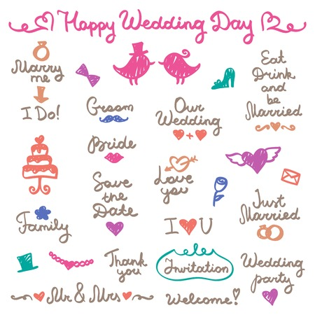 wedding set, lettering and elements for design Vector
