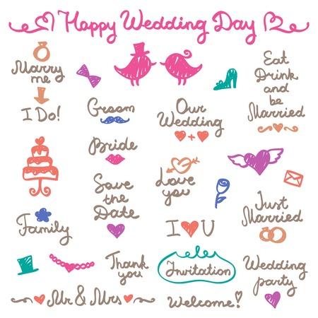 marry me: wedding set, lettering and elements for design Illustration