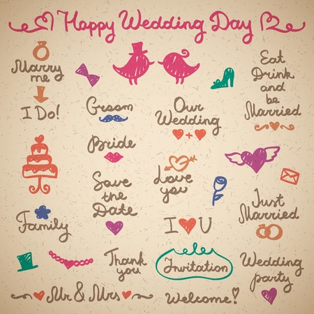 wedding set lettering and elements for design Vector