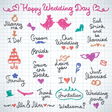 marry me: wedding set lettering and elements for design