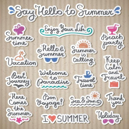 vacation summer: set of handwritten lettering and hand drawn elements for summer design