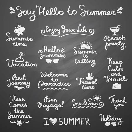 set of handwritten lettering and hand drawn elements for summer design