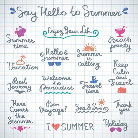 手書き文字と夏の設計のための手描きの要素のセット