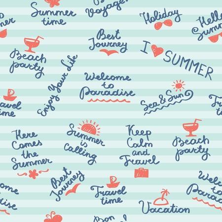 夏の手書きの文字や記号をシームレスなパターン