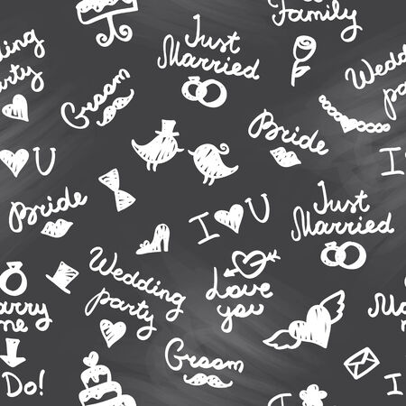 wedding seamless pattern with lettering and symbols Vector