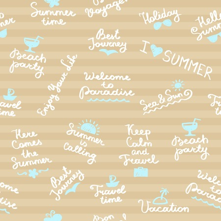 felt tip pen: seamless pattern with summer handwritten lettering and symbols