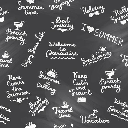 seamless pattern with summer handwritten lettering and symbols Vector
