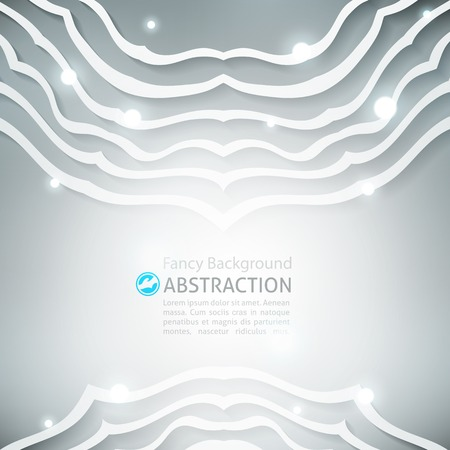 paper cut out: vector abstract background with circle ornament of white lines