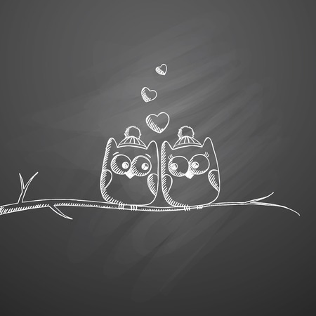 couple back to back: owls in love