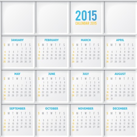 calendar grid 2015 year on abstract background Vector