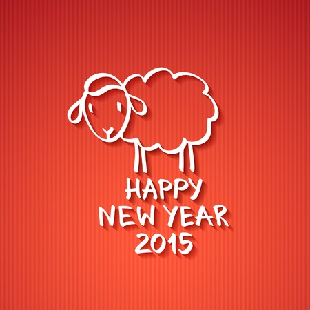 vector hand drawn sheep, happy new year 2015 Vector