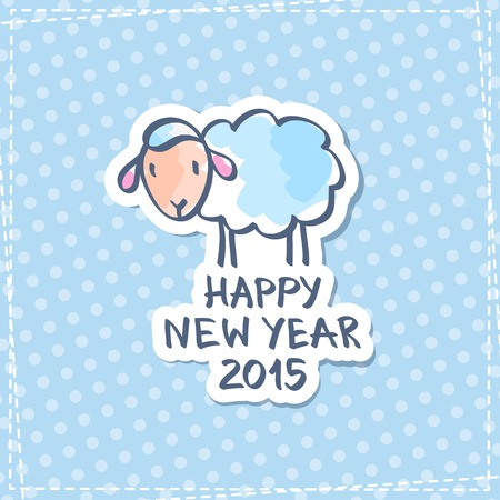vector vector hand drawn sheep happy new year 2015