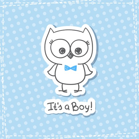 baby stickers: vector hand drawn baby owl, baby shower card template, its a boy