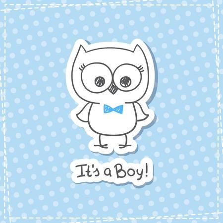 mano vector dibujado búho bebé, bebé plantilla de tarjeta de la ducha, que es un niño
