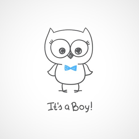 vector hand drawn baby owl, baby shower card template, its a boy Vector