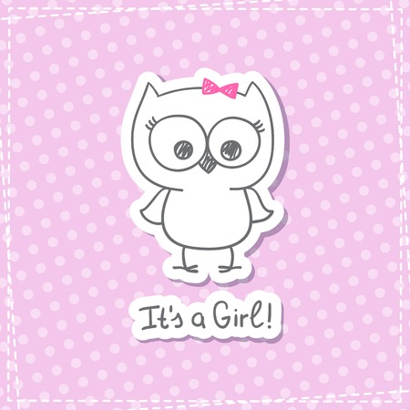 Vector Hand Drawn Baby Owl, Baby Shower Card Template, It's ...