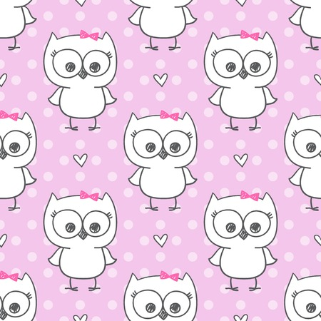 twin sister: cute little owls, vector baby seamless pattern Illustration