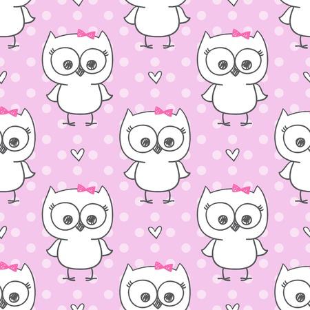 cute little owls, vector baby seamless pattern Vector