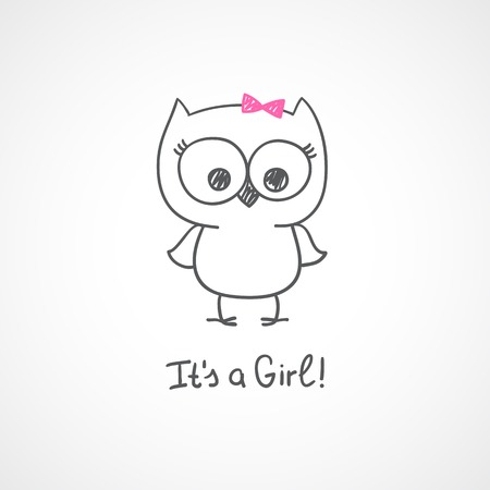 vector hand drawn baby owl, baby shower card template, it\'s a girl