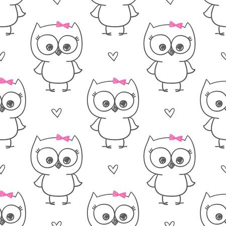 heart sketch: cute little owls, vector baby seamless pattern Illustration