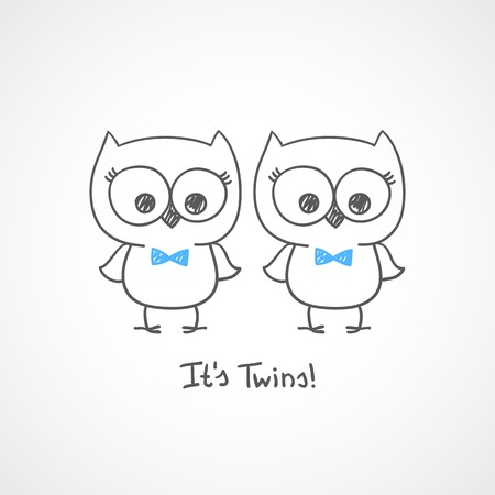 vector little owls twins, baby shower invitation template Vector