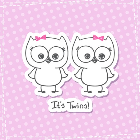 vector little owls twins, baby shower invitation template