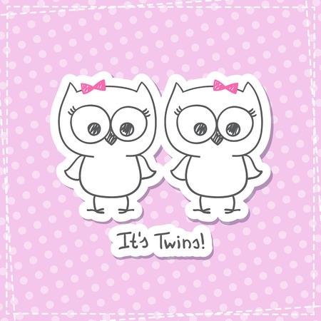 niñas gemelas: vector pequeños búhos gemelos, plantilla invitación de la ducha del bebé