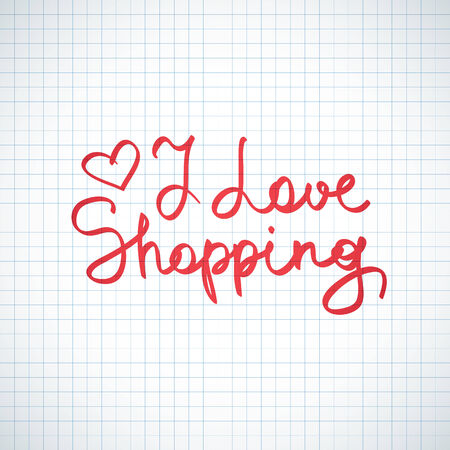 i love shopping, vector handwritten text on squared paper page