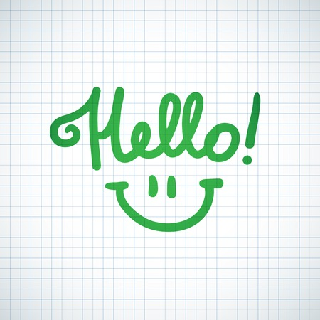 hello, handwritten text and smile on squared paper page