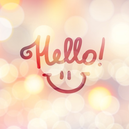 note of exclamation: hello, handwritten text and smile on blurred background with lights