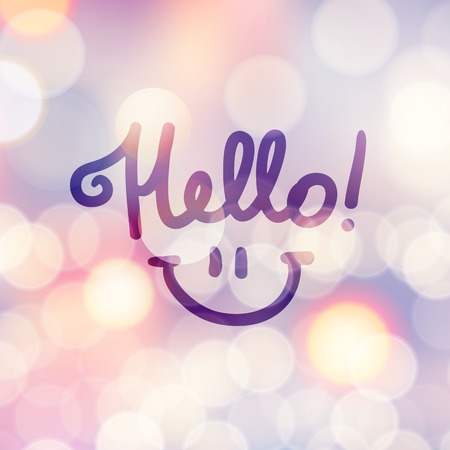 hello, handwritten text and smile on blurred background with lights Vector