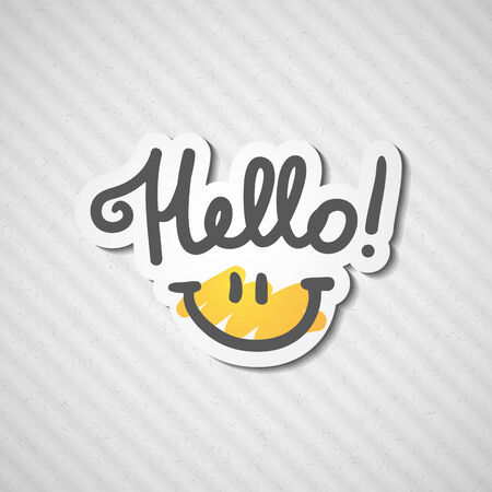 hello, handwritten text and smile on rough cardboard texture Vector