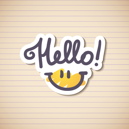 hello, handwritten text and smile on stripe paper page Vector
