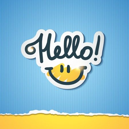 hello, handwritten text and smile on torn colored paper Vector
