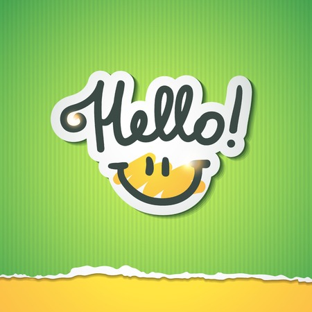 hand torn: hello, handwritten text and smile on torn colored paper