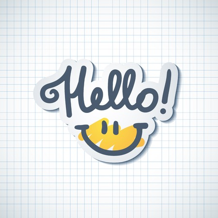 hello: hello, handwritten text and smile on squared paper page