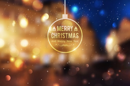 christmas ball: Winter night street, vector blurred background. Merry christmas and happy new year.