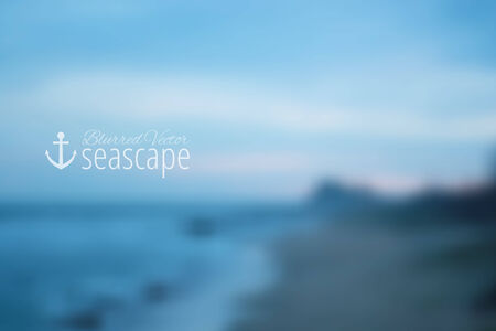 seascape: vector blurred background, evening seascape with mountains