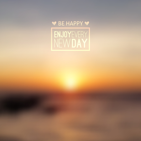early morning: South China Sea, seascape with sunrise, vector blurred background Illustration