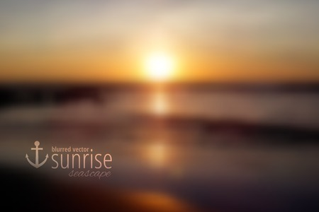 sunrise ocean: South China Sea, seascape with sunrise, vector blurred background Illustration