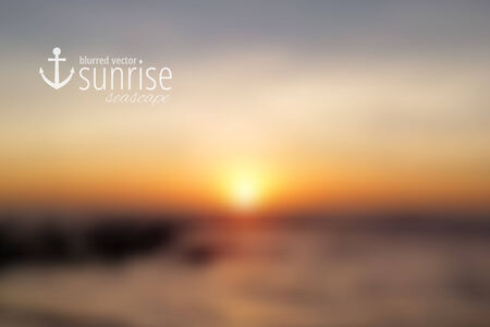 seascape: South China Sea, seascape with sunrise, vector blurred background Illustration