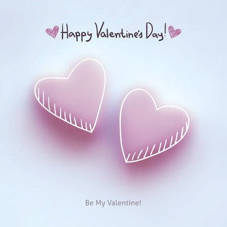 pink hearts on white, vector background for valentines day